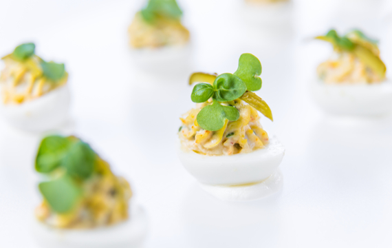 Seasonal locally sourced event catering hawksworth for Quail egg canape